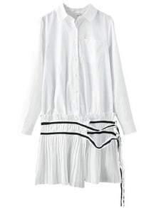 White Lapel Pocket Pleated Shirt Dress