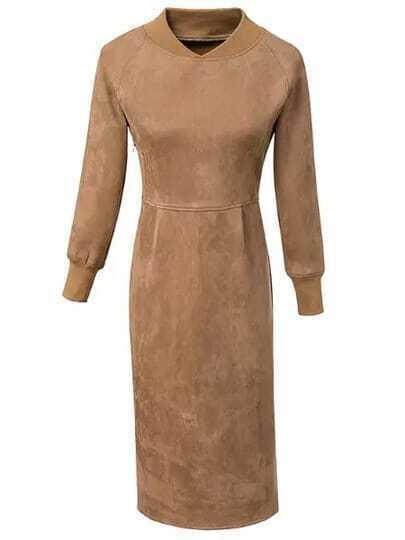 Khaki Stand Collar Slim Split Suede Dress