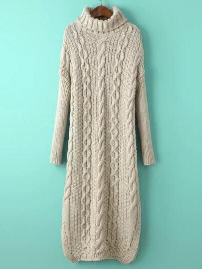 Бежевое длинное платье-свитер с вязаным узором