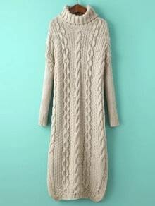 Apricot Turtle Neck Cable-knit Split Sweater Dress