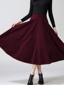 Burgundy High Waist Long Skirt