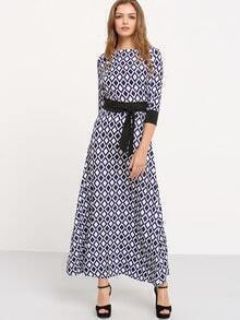 Blue White Diamondback Print Tie-Waist Dress