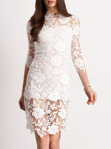White Floral Crochet Slim Lace Dress