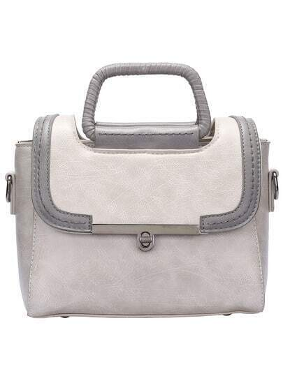 White Twist Lock PU Shoulder Bag