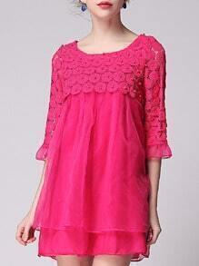 Rose Red Length Sleeve Crochet Beading Contrast Gauze Dress -SheIn(Sheinside)