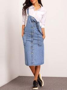 Blue Strap Buttons Pockets Denim Dress