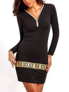 Black V Neck Zipper Bodycon Dress