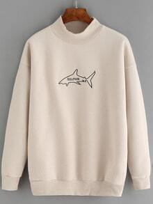 Apricot Mock Neck Shark Embroidered Sweatshirt