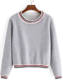 Grey Round Neck Striped Crop Sweatshirt