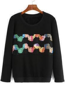 Black Round Neck Embroidered Loose Sweatshirt