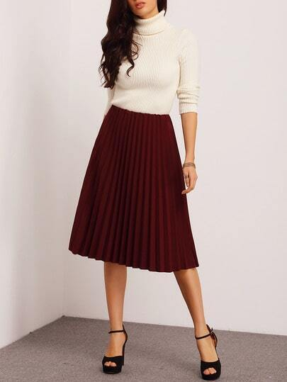 Burgundy Pleated Midi Skirt -SheIn(Sheinside)