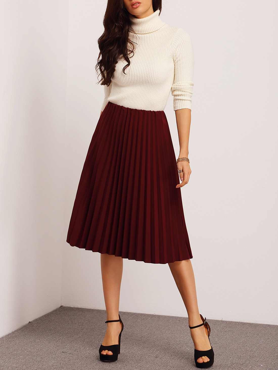 Top quality Burgundy Pleated skirt Maxi Skirt Long Skirt short skirt Maxi Dress chiffon skirt long beach skirt 12 colors ★ Material: Top quality Chiffon, fully lined with quality fabric. ★ Measurements: High stretch elastic waist from 62 cm / to cm/ The waist is perfectly.