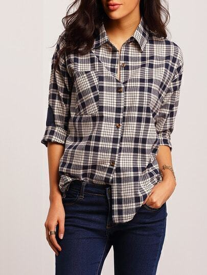 Navy White Lapel Plaid Loose Blouse