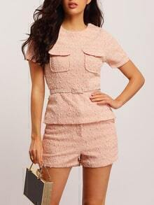 Pink Short Sleeve Pockets Top With Shorts
