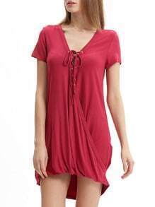 Red Lace Up Neck Wrap Front Dress