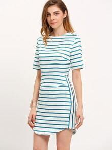 Beige Striped Crew Neck Dress