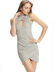 Grey Mock Neck Cut Out Wrap Front Bodycon Dress