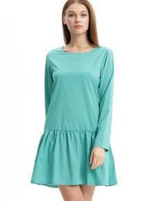 Green Crew Neck Drop Waist Flounce Dress