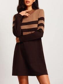 Brown Color Block Crew Neck Shift Dress