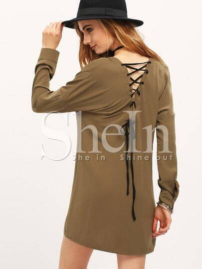 Army Green Lace Up Back Shirt Dress