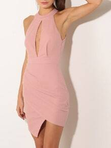 Pink Sleeveless Keyhole Cut Out Back Bodycon Dress