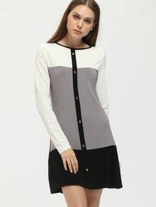 Grey Color Block Tshirt Dress