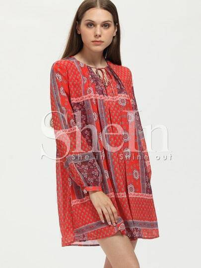 Tie Neck Aztec Print Belted Dress