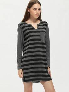 Grey Striped Pockets Dress