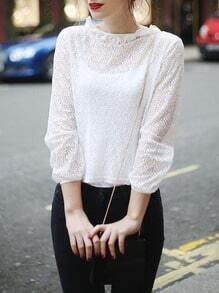 White Ruffle Crew Neck Embellished Blouse