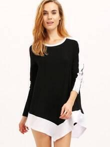 Black Color Block Asymmetric T-Shirt