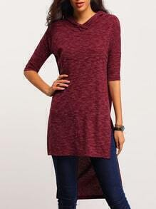 Red Hooded Side Slit Dip Hem T-Shirt