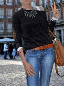 Grey Wide Neck Elbow Patch T-Shirt