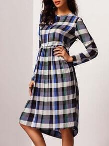 Plaid Crew Neck Shift Dress