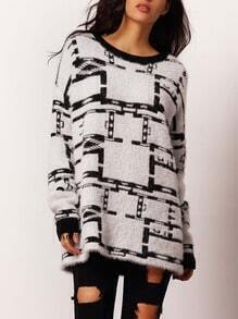 Multicolor Crew Neck Geometric Pattern Fuzzy Sweater