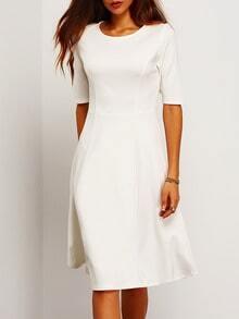 White Half Sleeve A Line Dress