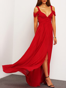 Wine Red Off The Shoulder Maxi Dress