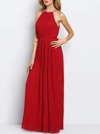 Halterneck Pleated Infinity Maxi Dress