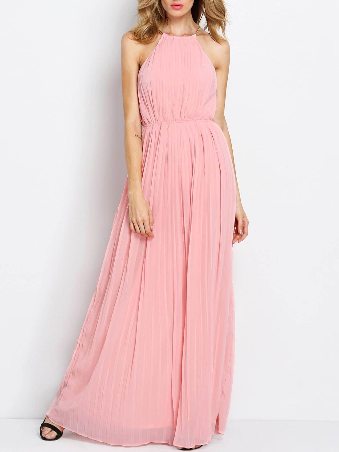 Pink Sleeveless Halter Pleated Maxi Dress -SheIn(Sheinside)