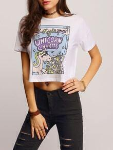 Colour Short Sleeve Unicorn Print Crop T-Shirt
