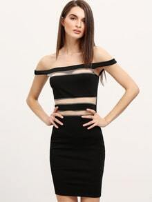 Black Off The Shoulder Sheer Mesh Bodycon Dress