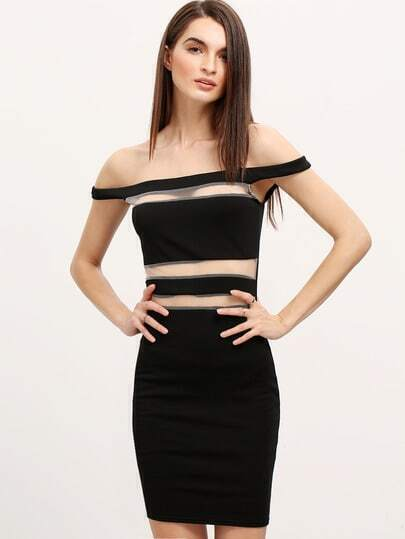 Black Off The Shoulder Sheer Mesh Bodycon Dress