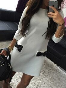 White Crew Neck Bow Embellished Straight Dress