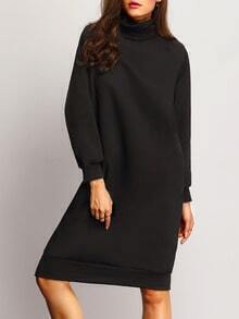 Black High Neck Loose Sweatshirt Dress