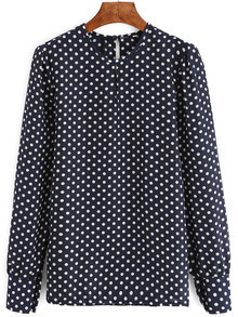 Blue Long Sleeve Polka Dot Chiffon Blouse