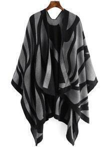 Grey Black Woman Loose Cape