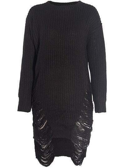 Black Sides Ripped Sweater Dress