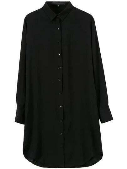 Black Single-breasted Long Sleeve Blouse