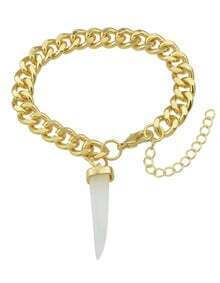 White Chili Shape Gold Plated Chain Bracelet