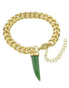 Green Chili Shape Gold Plated Chain Bracelet