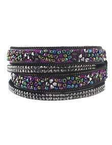 Purple Beads Multilayers Women Wrap Bracelet Jewelry